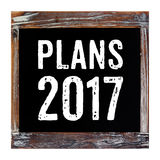 Planes 2017 en la pizarra del vintage aislada en el fondo blanco Imagenes de archivo