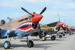 Planes of Fame Airshow, Chino Airport, May 5-6, 2018. Curtiss P-40 Warhawk, WWII Airplane, Planes of Fame Airshow, Chino Airport, Blue Sky, California , USA stock photography