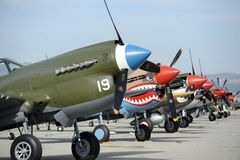 Planes of Fame Airshow, Chino Airport, May 5-6, 2018. WWII Airplane, Planes of Fame Airshow, Chino Airport, Blue Sky, California, USA royalty free stock images