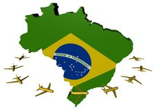 Planes flying around Brazil map flag Royalty Free Stock Image