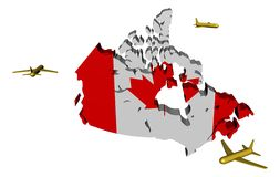 Planes flying around Canada map flag Stock Images