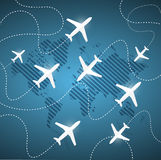 Planes flying around the globe. illustration Royalty Free Stock Images