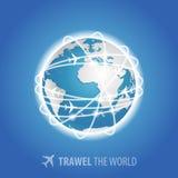 Planes flying around the globe. Vector EPS10. Planes flying around the blue globe. Vector EPS10 Royalty Free Illustration