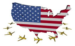 Planes flying around USA map flag Stock Photos