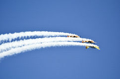 Planes on formation. Aircraft flying in formation on the airshow Stock Images