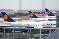 Planes at Frankfurt Airport Stock Photo
