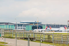 Planes in front of Lufthansa Technik hangar royalty free stock images