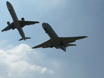 Planes getting close. During landing at amsterdam schiphol airport Stock Photos