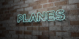 PLANES - Glowing Neon Sign on stonework wall - 3D rendered royalty free stock illustration Stock Images