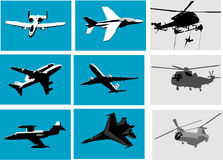 Planes and helicopter. Vector silhouettes of planes and helicopter Royalty Free Stock Photo