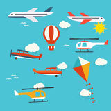 Planes, helicopters,  hot air balloon and kite. Vector illustration Stock Photos