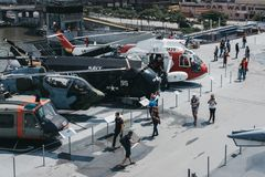 Planes and helicopters outside on the carrier in Intrepid Sea and Air Museum in New York, USA. Planes and helicopters outside on the carrier in Intrepid Sea and royalty free stock photos