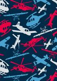 Planes and helicopters. Vector illustration of air transport in a repeat pattern Stock Image