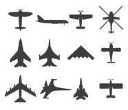 Planes icons, set on white background Royalty Free Stock Photography