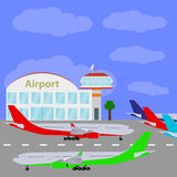 Planes with international airport. Royalty Free Stock Photos