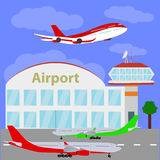 Planes with international airport. Royalty Free Stock Image