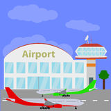Planes with international airport. Royalty Free Stock Photography