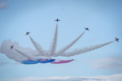 Planes jets and helicopters flying during airshow Royalty Free Stock Image
