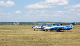 Planes on Korotych airfield Royalty Free Stock Images