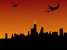 Planes leaving Chicago Stock Image