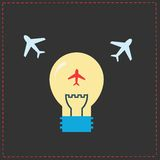 Planes and light bulb. flat icons Royalty Free Stock Image
