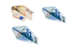 Planes made of euro banknotes Royalty Free Stock Images