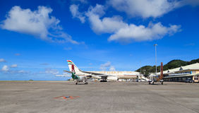 Planes in Mahe airport stock photography