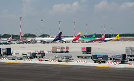 Planes at Marco Polo Airport, Venice Royalty Free Stock Photo