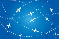 Planes navigating on air. Planes en route to their destination Stock Photo