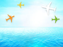 Planes ocean open water light blue sky water Royalty Free Stock Photos
