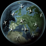 Planes over Europe Stock Photo