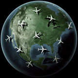 Planes over North america Royalty Free Stock Photos