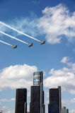 Planes Over Ren Cen Royalty Free Stock Photo