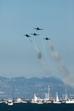 Planes Over San Francisco Bay in Air Show Stock Images