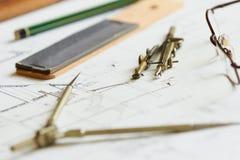 Planes para la arquitectura Foto de archivo libre de regalías