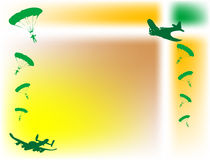 Planes and parachutes. Abstract illustration with green plane shapes and parachutes Stock Photo