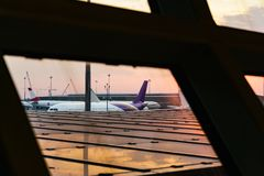 Planes park at concourse. Photo of planes park at concourse stock photo