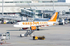 Planes in parking position at Munich ariport. MUNICH, GERMANY - APRIL 9: Planes in parking position at the the airport of Munich, Germany on April 9, 2017. The stock photography