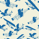 Planes pattern. Seamless vintage planes background, pattern Royalty Free Stock Photo