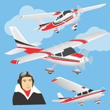 Planes with pilot. Set of planes in different positions and face of a pilot Royalty Free Stock Photography