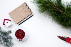 Planes por Año Nuevo en la opinión superior del fondo blanco Imagen de archivo libre de regalías