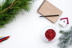 Planes por Año Nuevo en la opinión superior del fondo blanco Imágenes de archivo libres de regalías