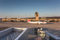 Planes preparing for take off at the Zurich International Airport Stock Photography