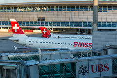 Planes preparing for take off at the Zurich International Airport Royalty Free Stock Image