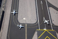 Planes ready for take off. Aircraft ready for take off as viewed from above Stock Photography