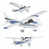 Planes. Set of blue and white planes in different positions Stock Photography