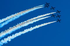 Planes. Seven planes formation at airshow Stock Images
