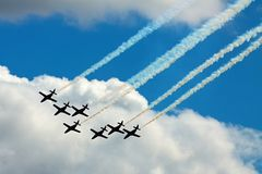 Planes. Seven planes formation at airshow Royalty Free Stock Photography