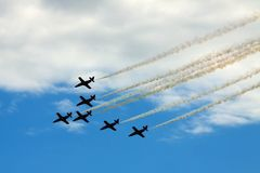 Planes. Six planes formation at airshow Stock Photos