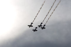 Planes on the sky during the airshow Royalty Free Stock Photography